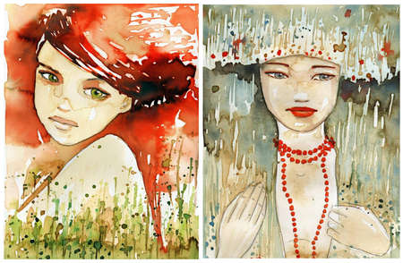 allegory painting: Watercolor portrait of a woman.  Stock Photo
