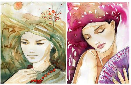 美しい女性の肖像画の水彩画のイラスト。元の絵にコーヒーの汚れや塗料。