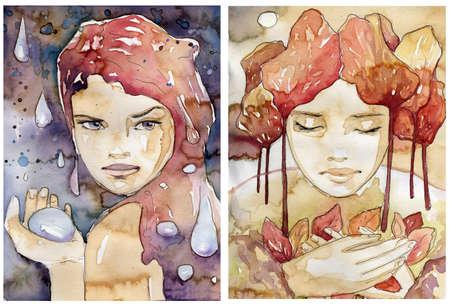 Illustration eines Aquarell Porträt einer schönen Frau. Das ursprüngliche Bild gemalt Kaffeeflecken und malt akwarelowymi. Standard-Bild