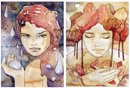 eye drops: illustration of a watercolor portrait of a beautiful woman. The original picture painted coffee stains and paints akwarelowymi.