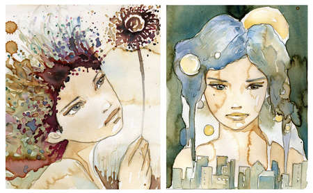 beads: Watercolor portrait of a woman.  Stock Photo