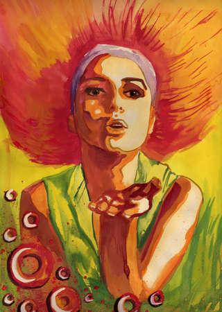 acuarela, el color, la bella mujer cargador beso Foto de archivo