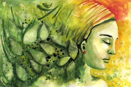 Ilustraci�n de una alegor�a femenina de la primavera