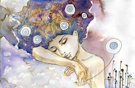 sleeps: woman who sleeps on his shoulder. Stock Photo