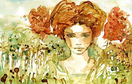 Watercolor portrait of a woman photo