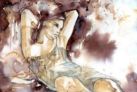 Mujer desnuda en una posici�n reclinada