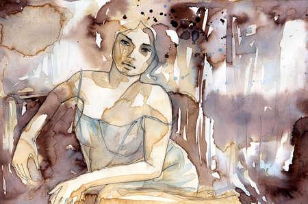 body paint: Mujer desnuda en una posición reclinada