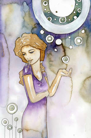 gazing: Illustration of a beautiful, romantic and pensive girl on an abstract background  Stock Photo
