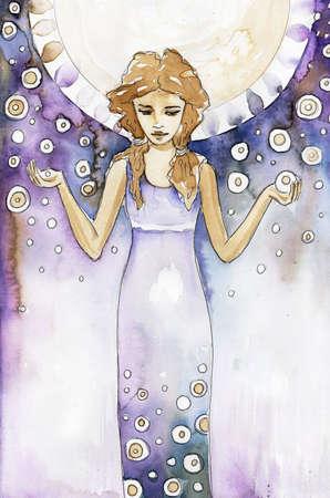 Ilustraci�n de una muchacha hermosa, rom�ntica y pensativo sobre un fondo abstracto
