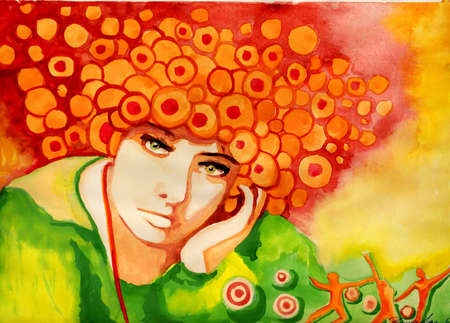 face painting: Watercolor illustration of a woman