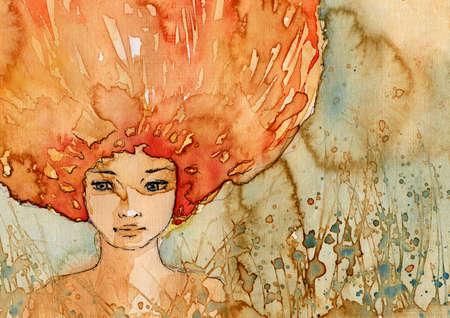 Watercolor portrait of a woman Stock Photo - 13218697