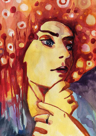 Watercolor illustration of a woman  illustration