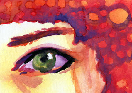 staring: Watercolor illustration of a woman