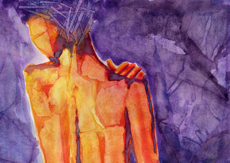 figure of a woman on a purple background photo