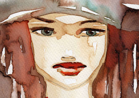 face centered: Stock Photo  Watercolor illustration of a woman Stock Photo
