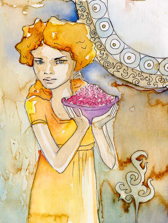 watercolor portrait of a sensual woman