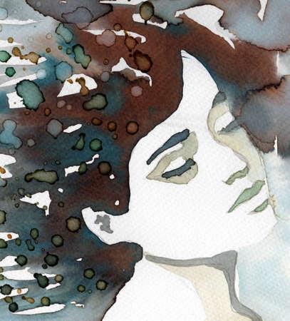 watercolor illustration of a beautiful, delicate and sensitive girl  Stock Photo