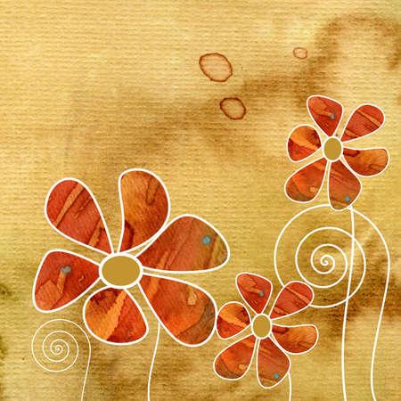 Dise�o floral de verano con flores abstractas