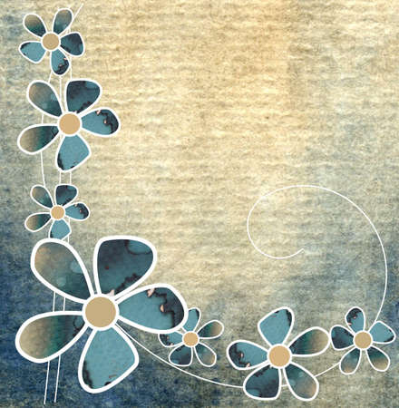 aquarell: Floral summer design with abstract flowers