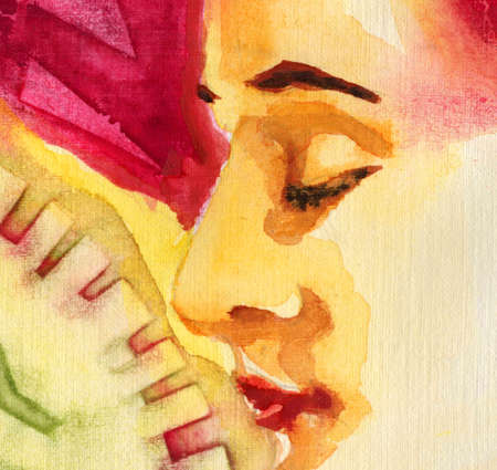 smells: red and green original watercolor portrait of a beautiful girl Stock Photo