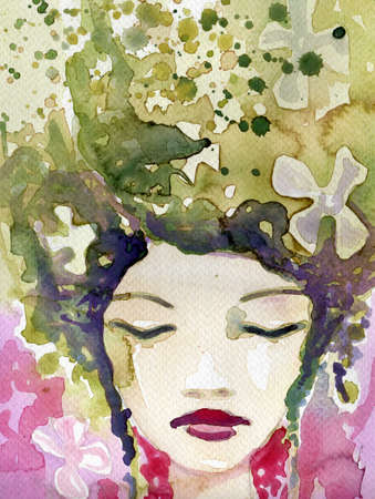 Interestingly, orygnalne and modern watercolor background with paint stains  photo