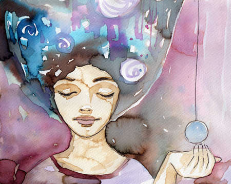 purples: romantic and nostalgic illustration of the young girl in purples