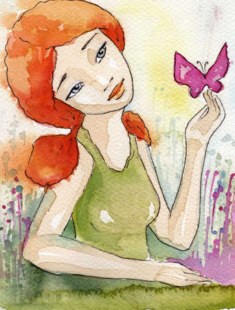 sensitive: watercolor illustration of a beautiful, delicate and sensitive girl  Stock Photo