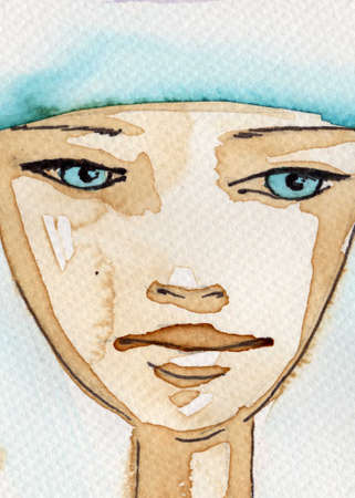 staring: watercolor illustration, depicting a portrait of a beautiful young woman