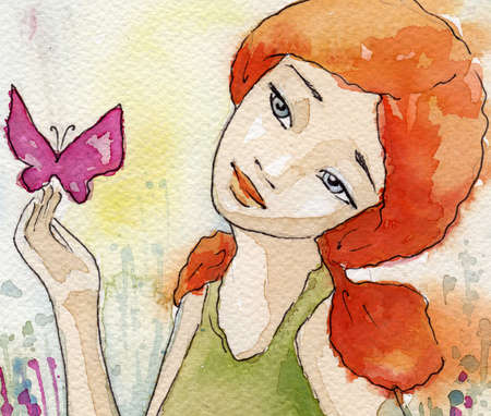 butterfly abstract: watercolor illustration of a beautiful, delicate and sensitive girl  Stock Photo