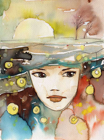 abstract portrait:  watercolor illustration to depict the portrait of a young girls fancy.