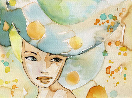 watercolor painting: watercolor illustration to depict the portrait of a young girls fancy. Stock Photo