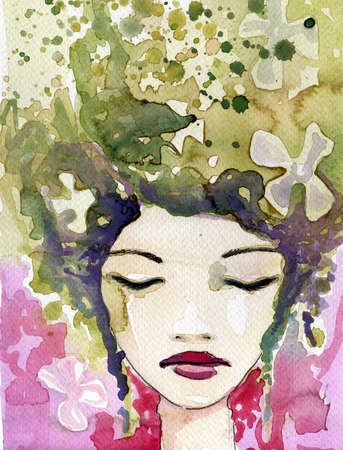 introducing: watercolour illustration introducing the beautiful, young woman Stock Photo