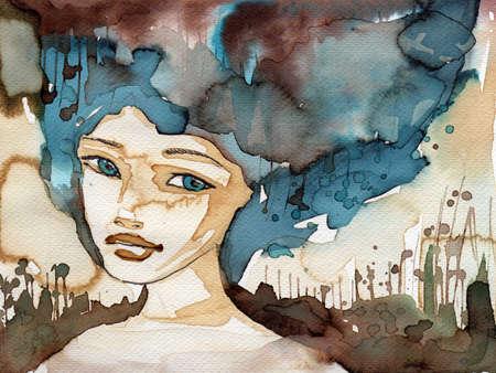 pintura en la cara: ejemplo de la acuarela para pintar el retrato de la fantasía de una niña. Foto de archivo