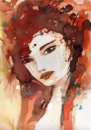 abstract portrait: watercolor illustration to depict the portrait of a young girls fancy. Stock Photo