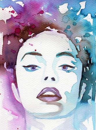 ejemplo de la acuarela para pintar el retrato de la fantas�a de una ni�a. Foto de archivo