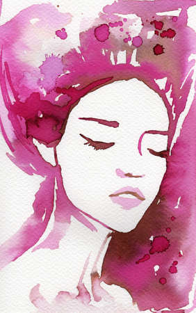 fantasy woman:  watercolor illustration to depict the portrait of a young girls fancy.