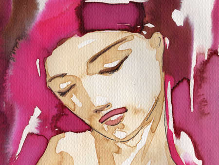 depict: watercolor illustration to depict the portrait of a young girls fancy. Stock Photo