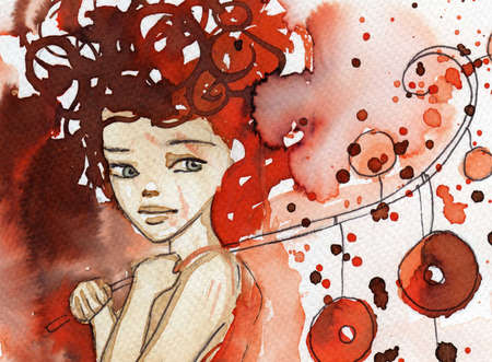 painted face: watercolor illustration to depict the portrait of a young girls fancy. Stock Photo