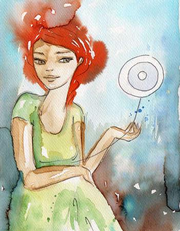 caritas pintadas: ejemplo de la acuarela para pintar el retrato de la fantasía de una niña. Foto de archivo