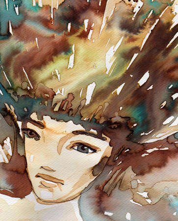 depict: watercolor illustration to depict the portrait of a young girl s fancy