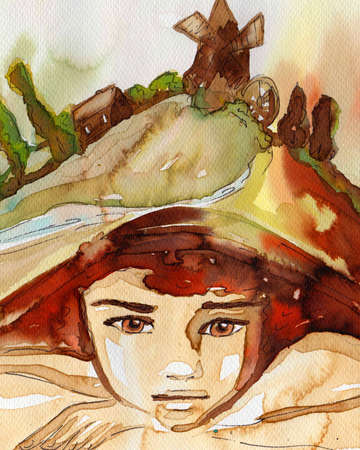 fable: watercolor illustration depicting a portrait of a beautiful child