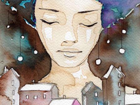 caritas pintadas: acuarela ilustración de un retrato de una muchacha joven y bonita