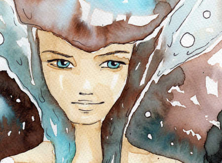 painted face: watercolor illustration of a portrait of a young, pretty girl