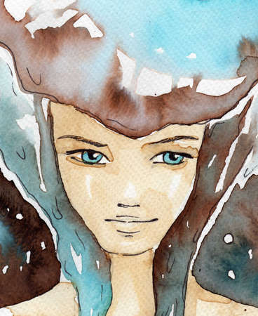dreamy: watercolor illustration of a portrait of a young, pretty girl