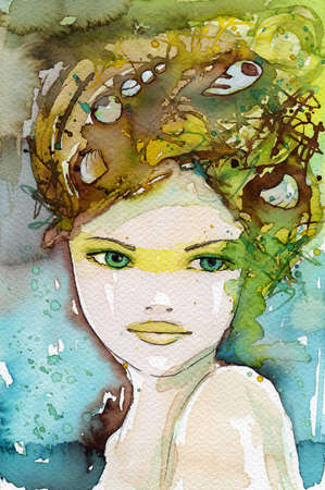 watercolor illustration of a portrait of a young, beautiful woman. illustration
