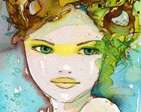 painted face: watercolor illustration of a portrait of a young, beautiful woman.