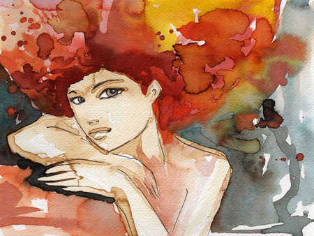 Stock Photo: Watercolor illustration of a woman  illustration