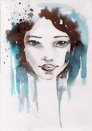 acuarela ilustraci�n que muestra el rostro de una chica guapa, joven en un tono de color de invierno