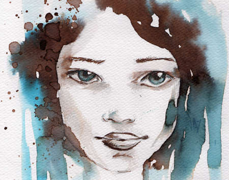 painted face: watercolor illustration showing the face of a pretty, young girl in a winter color tones