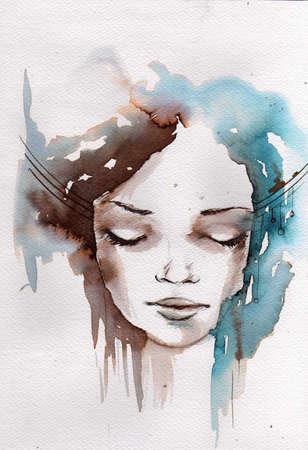 ejemplo de la acuarela que muestra el rostro de una bonita, joven muchacha en un tonos de color de invierno Foto de archivo